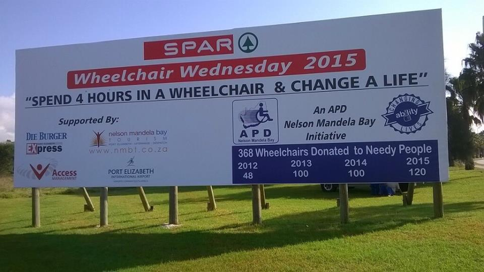 SPAR Wheelchair Wednesday 2015 Billboard - PE Airport