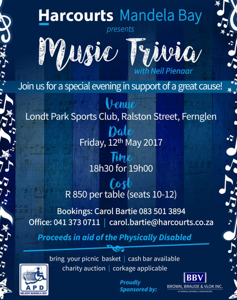 Harcourts Music Trivia Event 2017 (APD Nelson Mandela Bay Beneficiary)